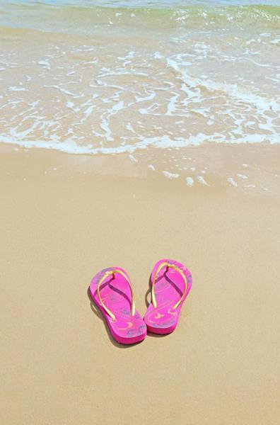 Flip Flops Photograph - Flip Flops On A Sandy Beach by Kathy Collins