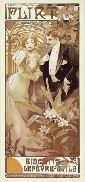 Wall Art - Painting - Flirt Vintage Poster By Mucha by Alphonse Marie Mucha