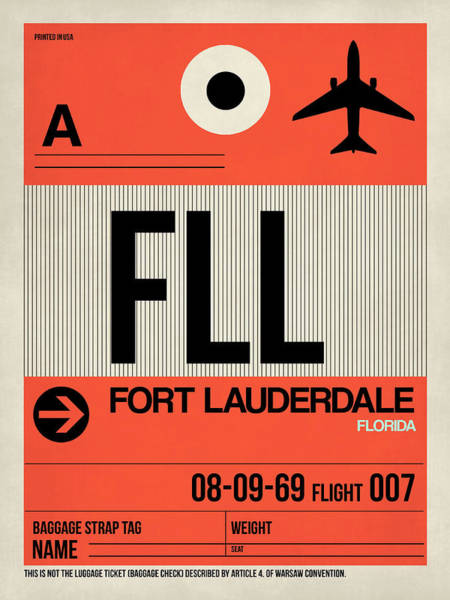 Wall Art - Digital Art - Fll Fort Lauderdale Luggage Tag I by Naxart Studio