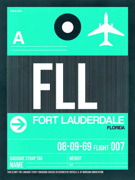 Wall Art - Digital Art - Fll Fort Lauderdale Luggage Tag II by Naxart Studio