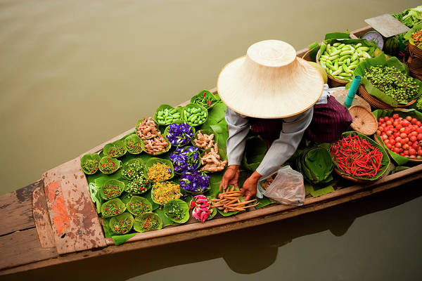 Looking Down Photograph - Floating Market, Bangkok, Thailand by Mint Images/ Art Wolfe