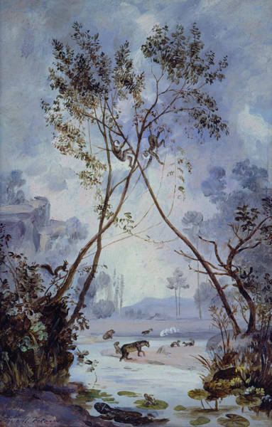 Painting - Flora And Fauna From The Miocene Cenozoic Period. Evolution Of Continental Life On Earth by Jose Maria Velasco Gomez