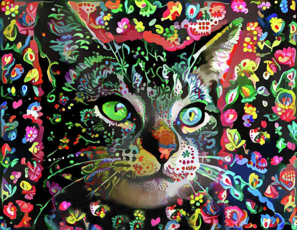 Digital Art - Flora The Tabby Cat by Peggy Collins