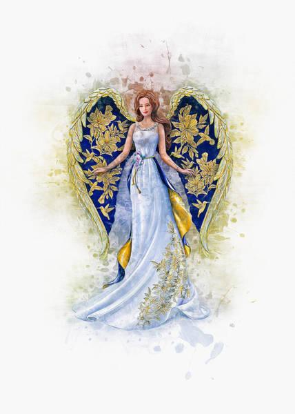 Angelic Digital Art - Floral Angel by Ian Mitchell