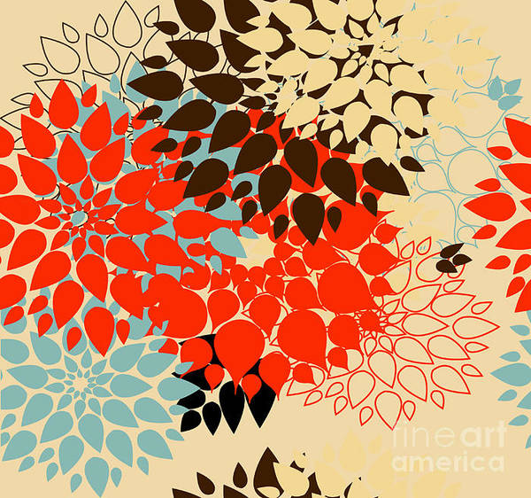 Stylized Wall Art - Digital Art - Floral Background. Summer Colour by Bubusik