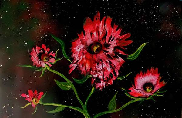 Wall Art - Painting - Floral Blooming In Night by Willy Proctor