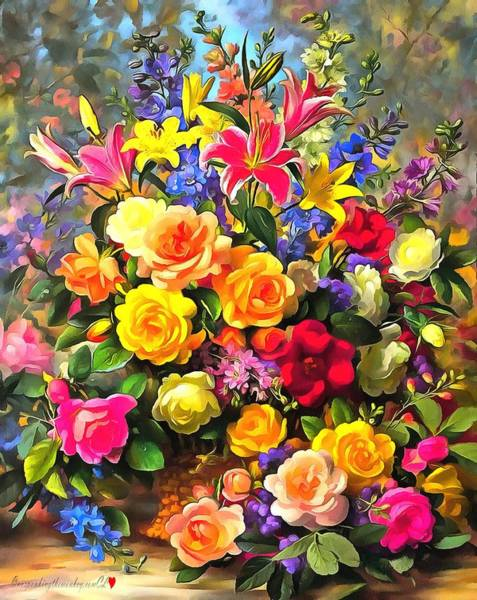 Digital Art - Floral Bouquet In Acrylic by Catherine Lott