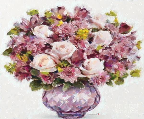 Painting - Floral Bouquet Pink And Purple Paint by Catherine Lott