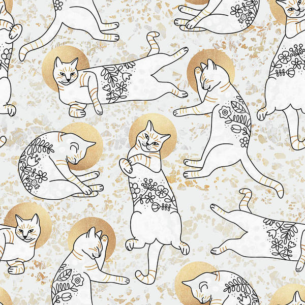 Golden Digital Art - Floral Cats by Elisabeth Fredriksson