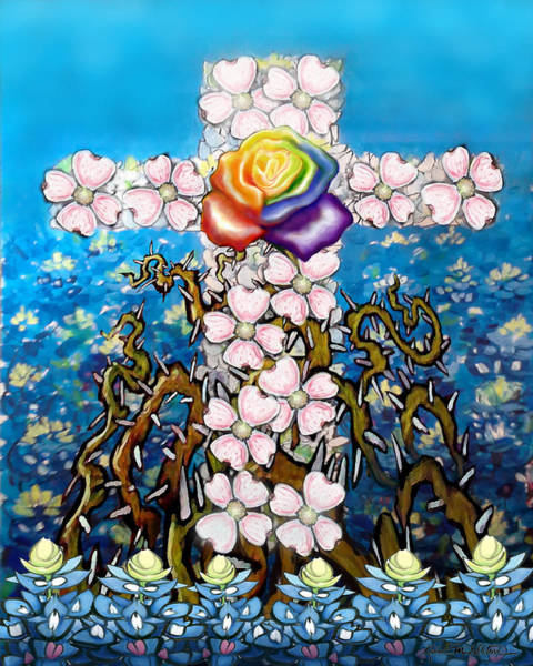 Painting - Floral Cross Rainbow Rose by Kevin Middleton