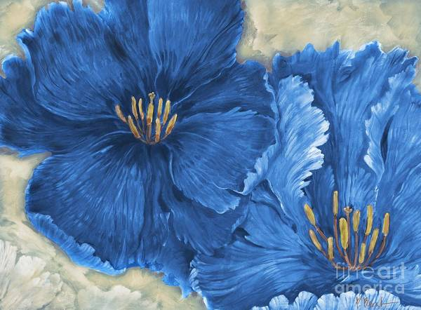 Wall Art - Painting - Floral Explosion - Blue by Paul Brent