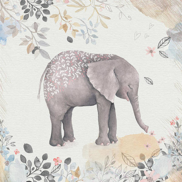 Wall Art - Mixed Media - Floral Fantasy Elephant by Amanda Lakey