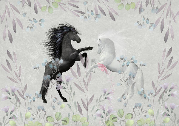 Wall Art - Mixed Media - Floral Fantasy Horses by Amanda Lakey