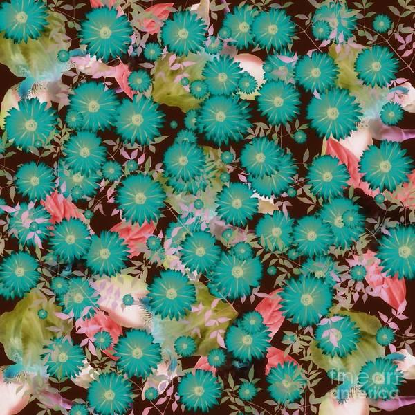 Mixed Media - Floral Flurry Blue Green by Rachel Hannah