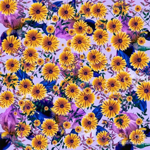 Mixed Media - Floral Flurry Orange Violet  by Rachel Hannah