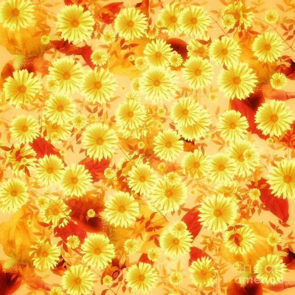 Mixed Media - Floral Flurry Orange Yellow by Rachel Hannah