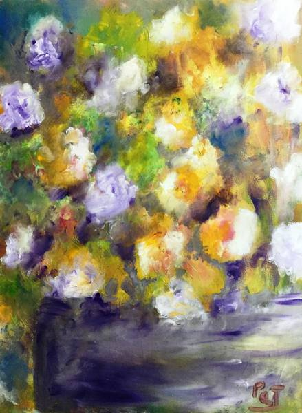Wall Art - Painting - Floral Gold And Violet by Patricia Clark Taylor