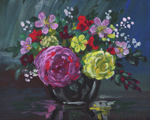 Wall Art - Painting - Floral Impressionistic Still Life With Roses by Irina Sztukowski