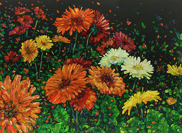 Painting - Floral Interpretation - Gerber Daisies by James W Johnson