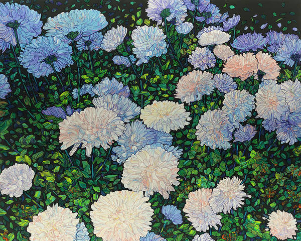 Painting - Floral Interpretation - Mums by James W Johnson