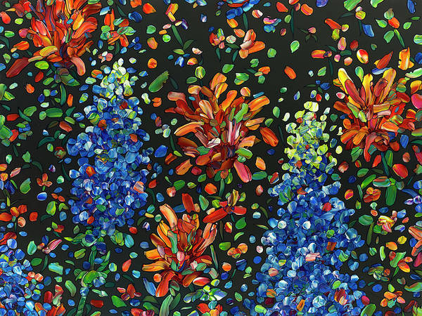 Painting - Floral Interpretation - Texas Wildflowers by James W Johnson