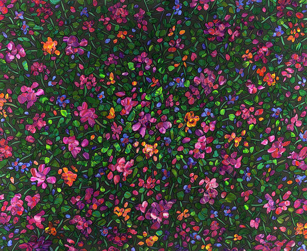 Blooming Painting - Floral Interpretation - Weedflowers by James W Johnson