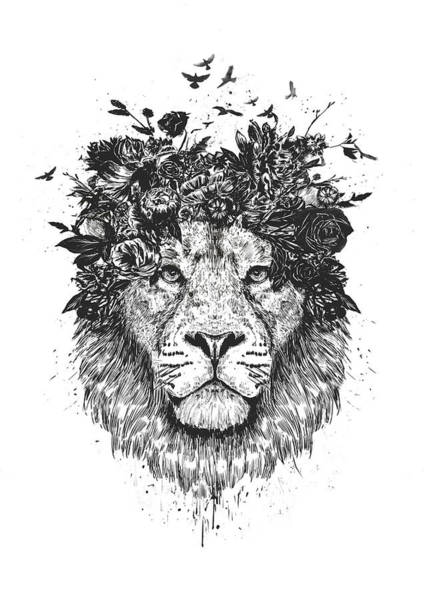 Summer Drawing - Floral Lion by Balazs Solti