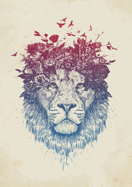 Wall Art - Drawing - Floral Lion IIi by Balazs Solti