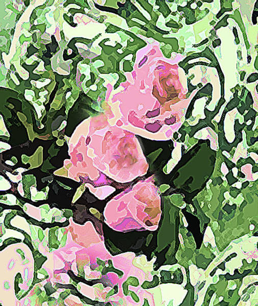 Photograph - Floral Of Pink Green And Yellow by Corinne Carroll