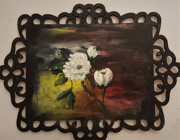 Painting - Floral On Wood by Cheryl Nancy Ann Gordon