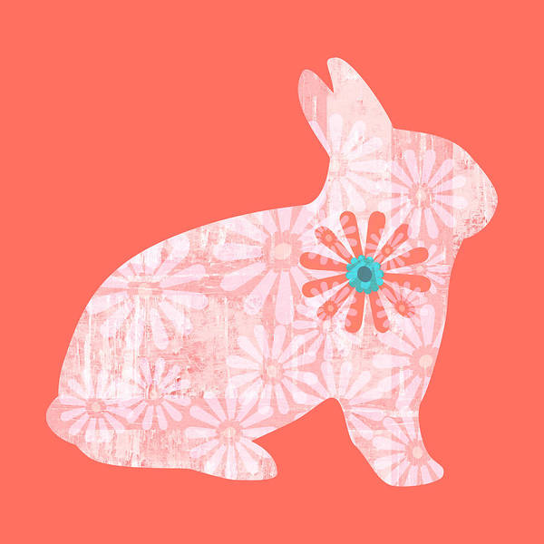 Photograph - Floral Rabbit In Living Coral I by Marianne Campolongo