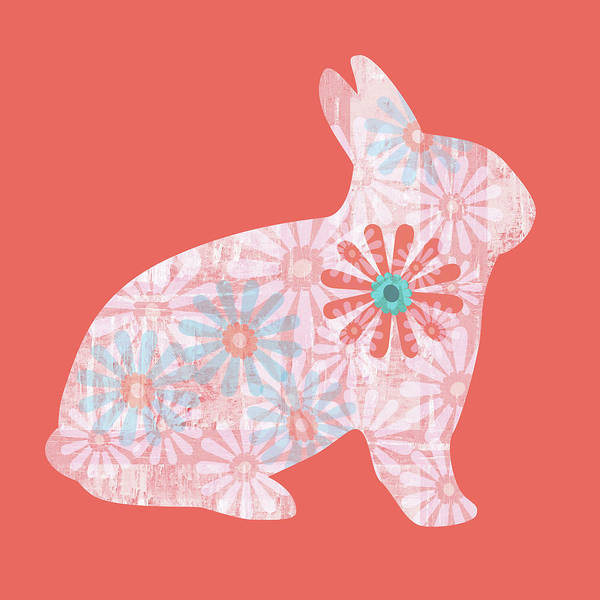 Digital Art - Floral Rabbit In Living Coral II by Marianne Campolongo