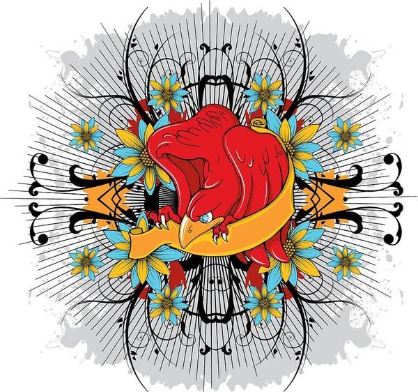 Digital Art - Floral Red Hawk by Passion Loft