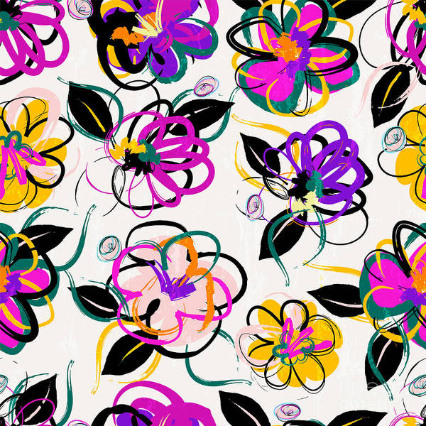 Floral Seamless Pattern Background Art Print