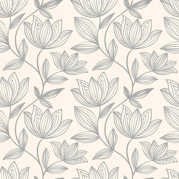 Cover Wall Art - Digital Art - Floral Seamless Pattern Can Be Used For by Mespilia