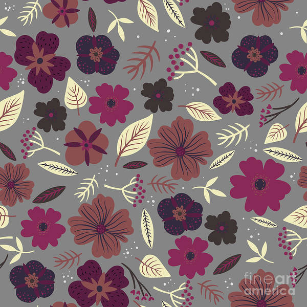 Wall Art - Digital Art - Floral Seamless Pattern. Colored by Maria Sem
