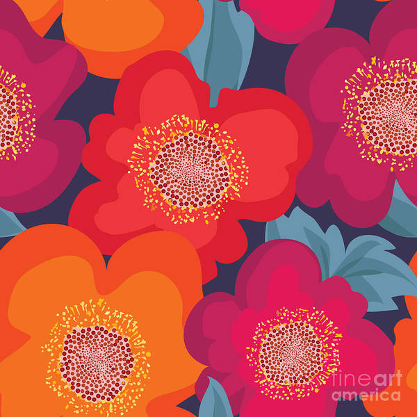 Victorian Garden Wall Art - Digital Art - Floral Seamless Pattern. Flower by Yoko Design