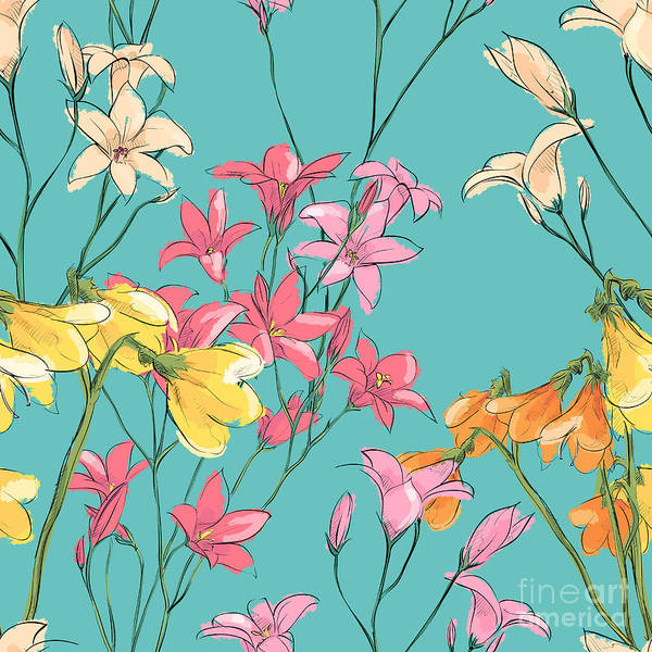 Herbal Wall Art - Digital Art - Floral Seamless Pattern. Sketch Style by R lion o