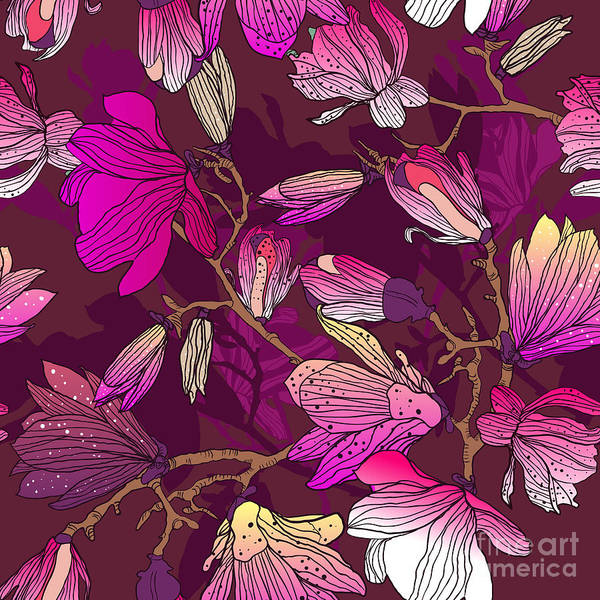 Wall Art - Digital Art - Floral Seamless Pattern With Drawing by Lola Tsvetaeva