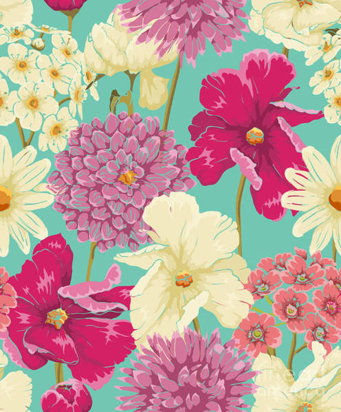 Color Image Digital Art - Floral Seamless Pattern With Flowers In by Hoverfly