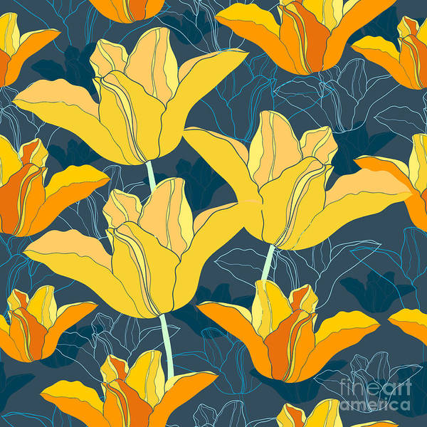 Herbal Wall Art - Digital Art - Floral Seamless Pattern With Yellow by Marymyyr