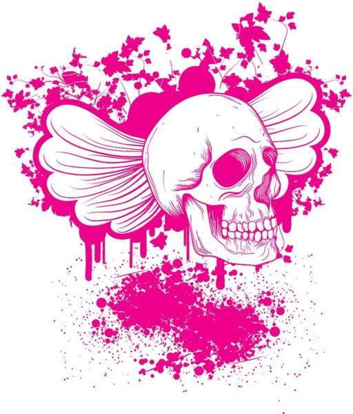 Digital Art - Floral Skull Splashes by Passion Loft