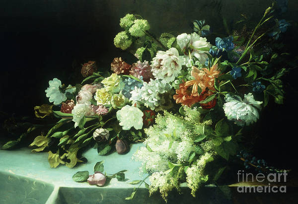 Wall Art - Painting - Floral Still Life, 1884 by Frans Mortlemans
