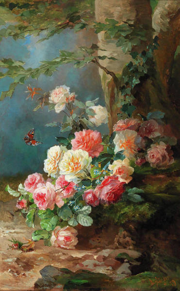 Wall Art - Painting - Floral Still Life by Franz Xaver Birkinger