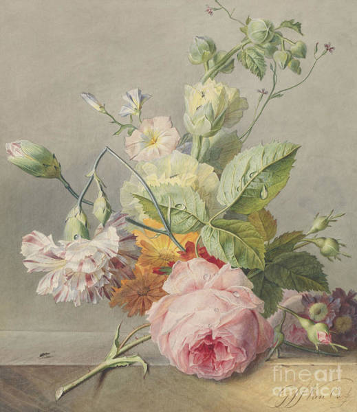 Wall Art - Painting -  Floral Still Life by Georgius Jacobus Johannes van Os