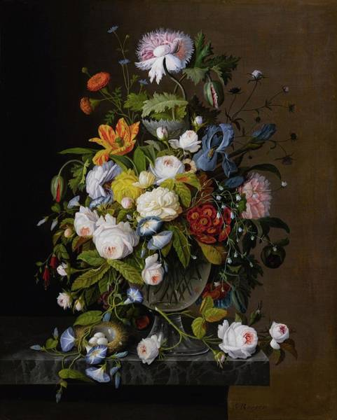 1805 Painting - Floral Still Life With Bird Nest by MotionAge Designs