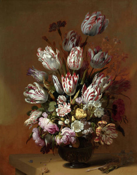 Dutch Tulip Painting - Floral Still Life,1639 by Hans Bollongier