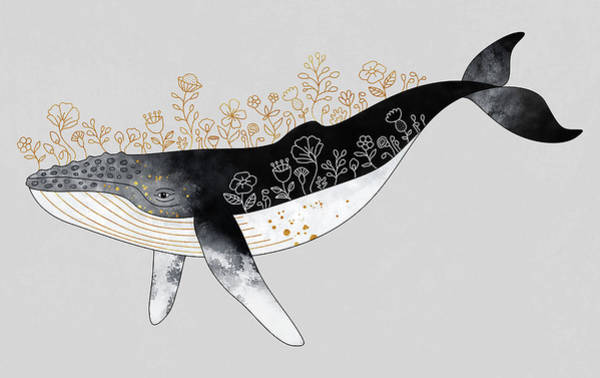 Wall Art - Digital Art - Floral Whale by Elisabeth Fredriksson