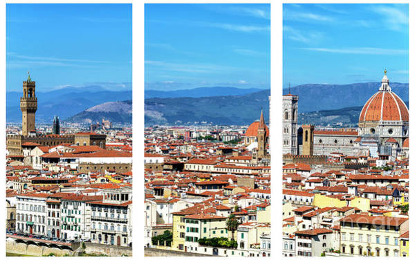 Photograph - Florence Cityscape Triptych by John Rizzuto