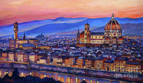 Tuscan Painting - Florence At Night by John Clark